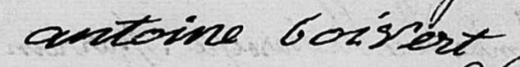 Signature of Antoine Boisvert, 3 January 1823.  Source: Ste. Croix parish records through  familysearch.org