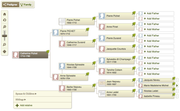 Poor Catherine descended from two bigamists: her paternal grandfather, Pierre Pichet, and her maternal great grandfather, Jean Nepveu.  Photo credit: screen shot of my Ancestry.com family tree.