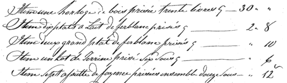 Excerpt of an inventory of Antoine Boisvert's estate, February 26, 1835.  Housed at the National Library and Archives of Quebec.