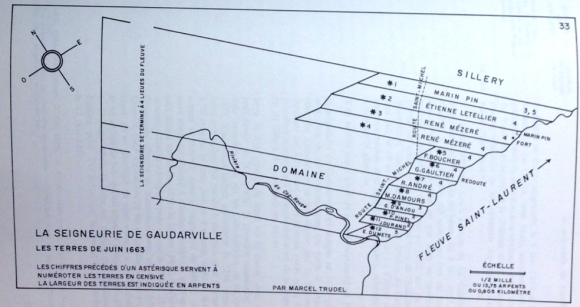 Excerpt from Marcel Trudel's Le Terrier Du Saint-Laurent En 1663 Guardarville map.