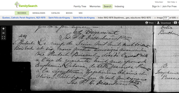 Louis Hubert Boisvert's burial record.  Screen shot from familyseach.org