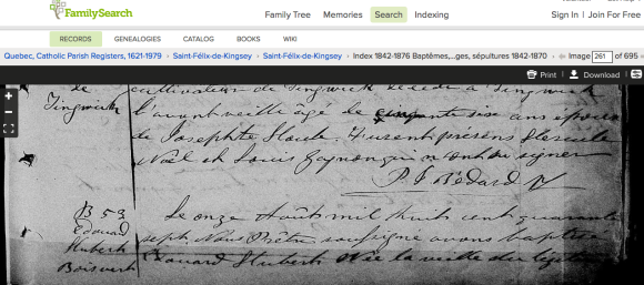The first half of Eduoard Hubert Boisvert's baptism record.  Screen shot from familyseach.org