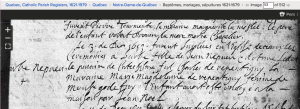 Babe Nepveu's 1653 baptism at Notre Dame de Quebec. Screenshot of familysearch.org record