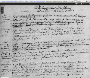 Suzanne Nepveu and others' baptisms at Mission St. Joseph de Sillery. Screenshot of familysearch.org record