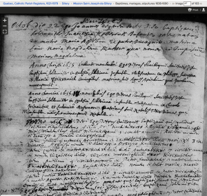 1655 native baptisms at Mission St. Joseph de Sillery.  Screenshot of familysearch.org record
