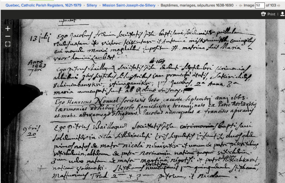 April 20th, 1663 baptism record at Sillery.  Source: familysearch.org