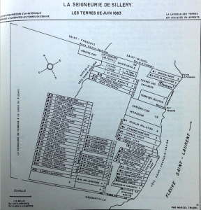 Map of Sillery, 1663 from Marcel Trudel's Le Terrier Du Saint-Laurent En 1663.