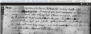 1654 native baptisms at Mission St. Joseph de Sillery.  Screenshot of familysearch.org record
