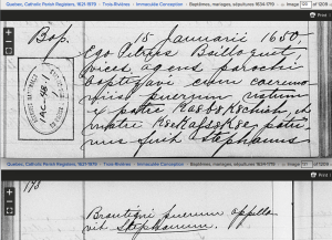1650 baptism at Trois Rivieres. Screenshot of familysearch.org record
